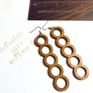 Jewelry Cherry Wood Drop Circle Earrings